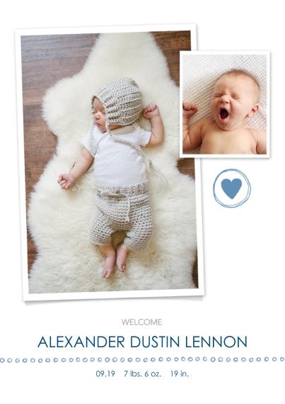 Newborn 5x7 Cards, Premium Cardstock 120lb with Elegant Corners, Card & Stationery -Welcome, Boy