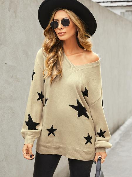 YOINS Khaki Random Star V-neck Long Sleeves Sweater