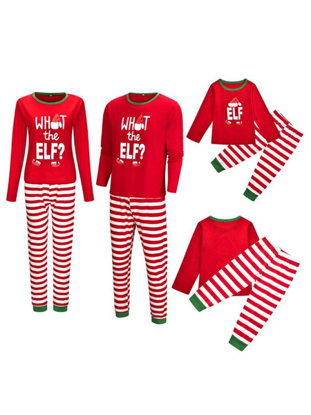 Milanoo Matching Family Christmas Pajamas Red Cotton Blend Color Block Stripes Top Pants Set