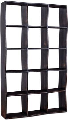 ZWBTBKS86B Biblioteche Collection 86-Inch Antique Black Bookshelf with Shelves and Solid Wood in