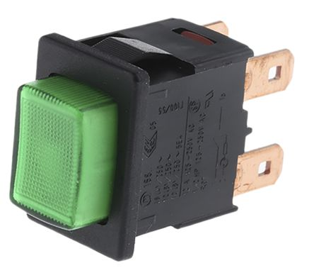 Marquardt Double Pole Double Throw (DPDT) Latching Green LED Push Button Switch, 12.9 x 19.2mm, 230V