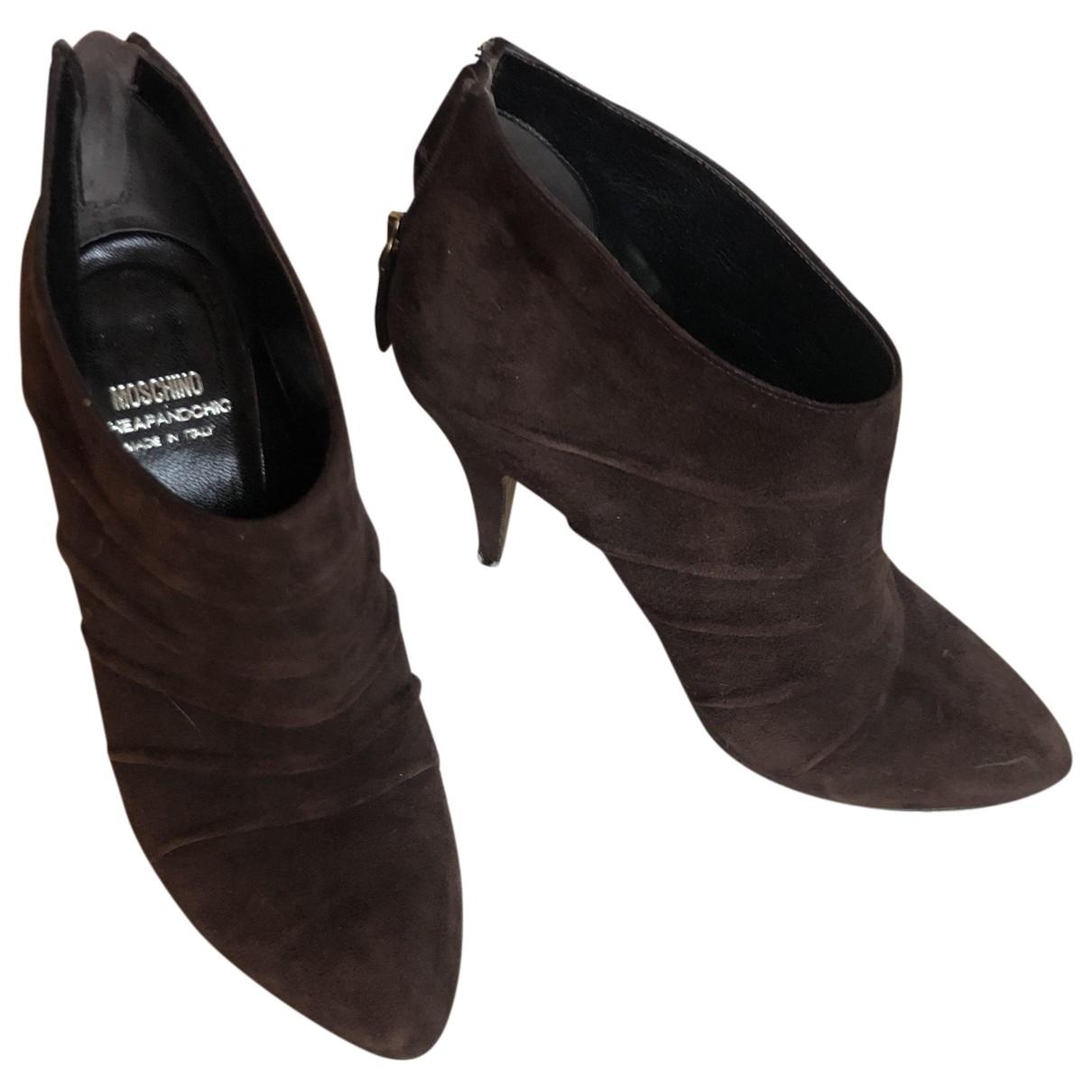 Moschino - Boots   pour femme en suede - marron