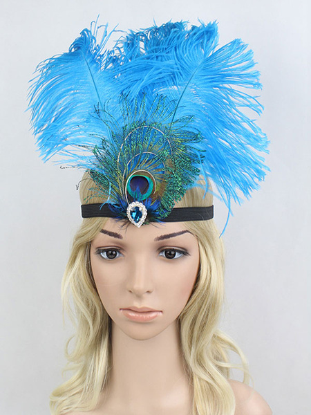 Milanoo Flapper Headband 1920s Great Gatsby Feather Headpieces Blue Women Vintage Costume Accessories Halloween
