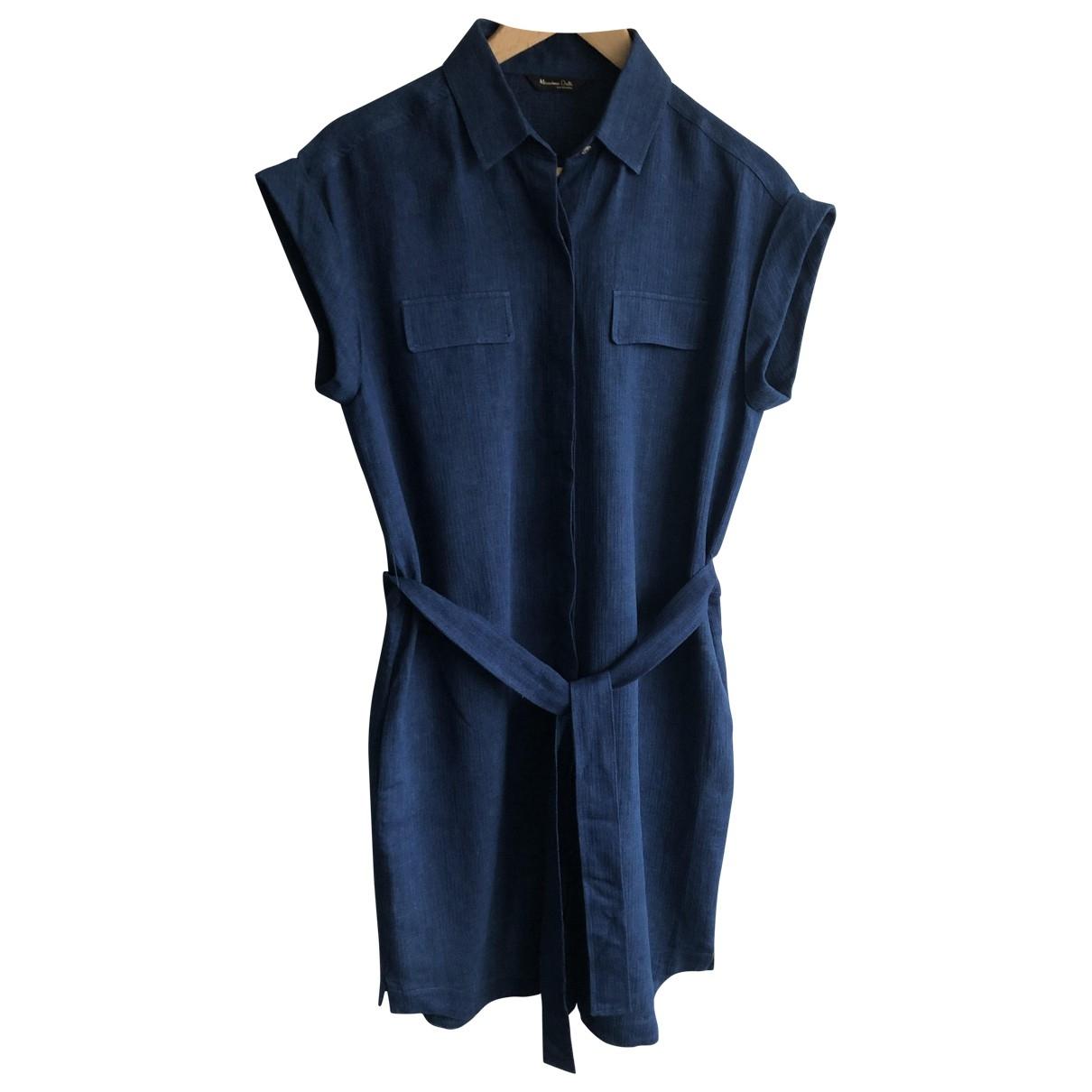 Massimo Dutti \N Blue Linen dress for Women 40 FR