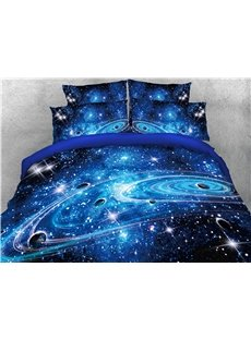 3D Starry Universe Planet Galaxy 4Pcs Navy Blue Bedding Sets Zipper Duvet Cover Set with Non-slip Ties