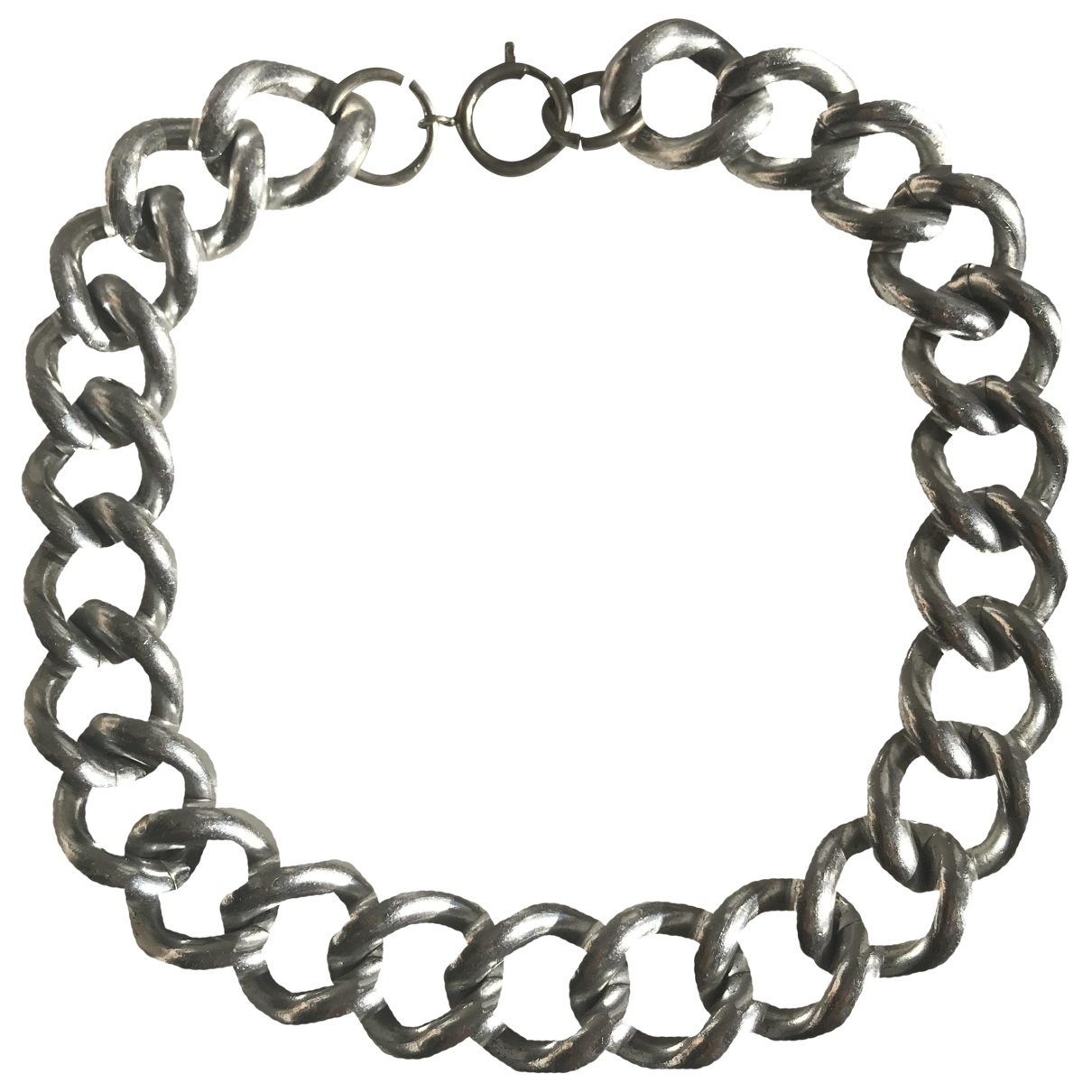Non Signe / Unsigned Gourmette Kette in  Silber Metall
