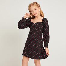 Kleid mit Herzen Kragen, Knopfen vorn und Punkten Muster