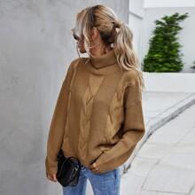 Cable Knit Drop Shoulder Turtleneck Sweater