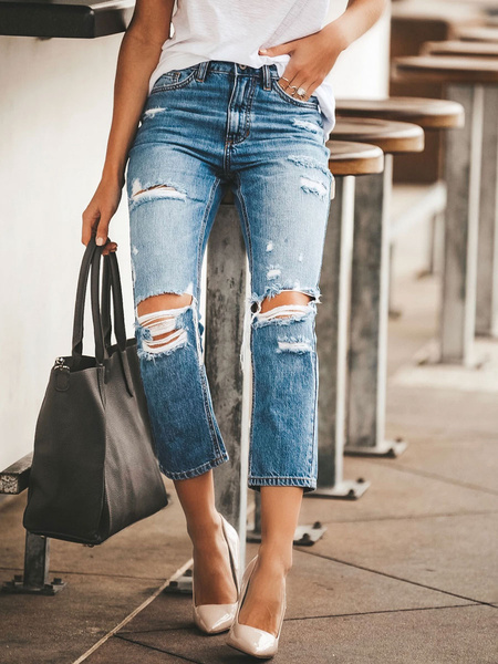 Milanoo Jeans For Woman Cool Blue Straight Cotton Fashion Ripped Jeans