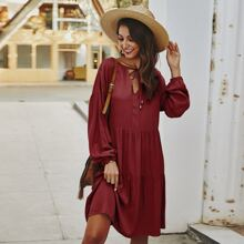 Tie Neck Ruffle Hem Smock Dress