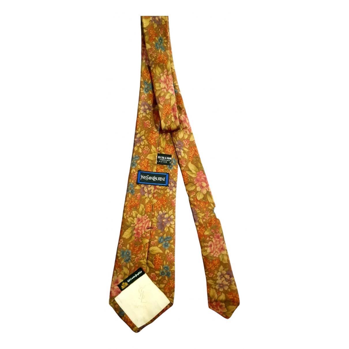 Yves Saint Laurent - Cravates   pour homme en soie - jaune