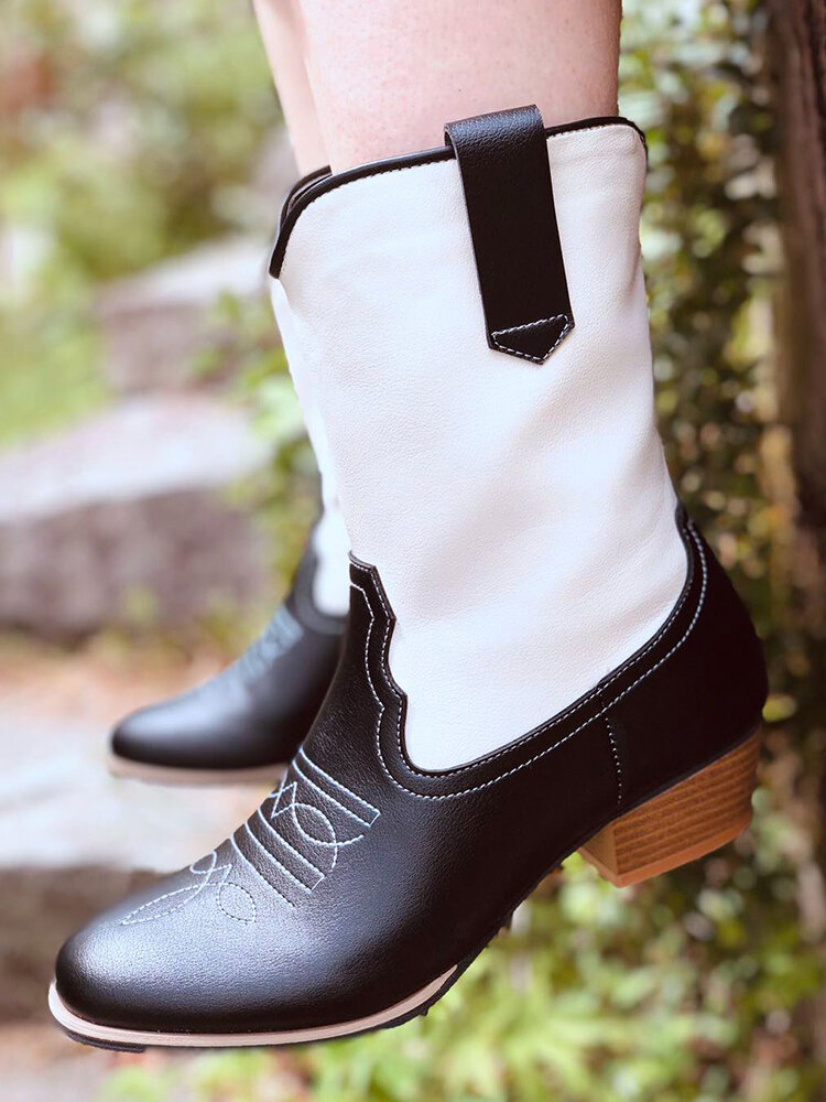 Women Two Tone Comfy Wearable Slip-on Chunky Heel Cowboy Boots