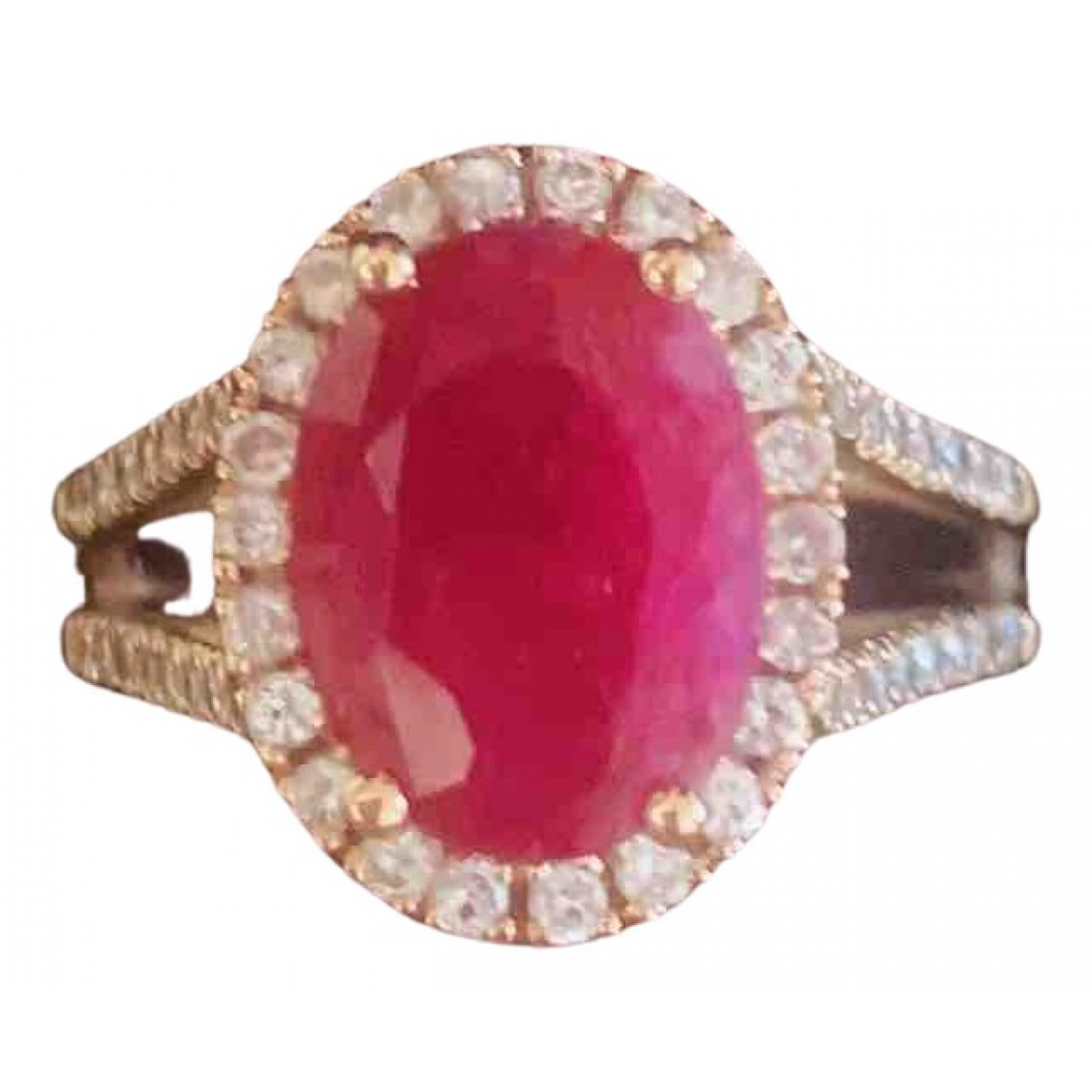 Non Signe / Unsigned Rubis Ring in  Rot Rosegold