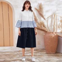 Bell Sleeve Button Front Colorblock Dress