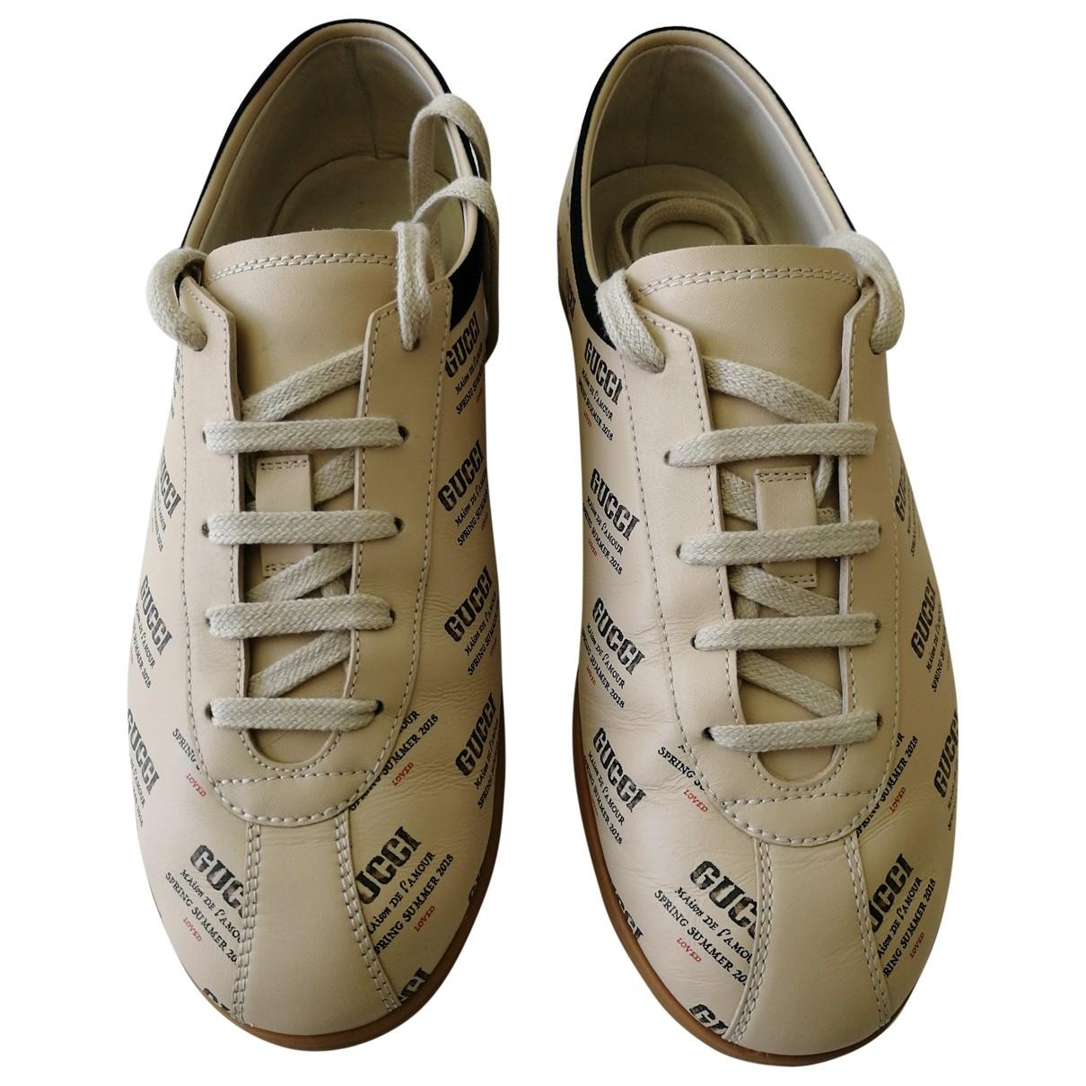 Gucci - Baskets   pour homme en cuir - beige