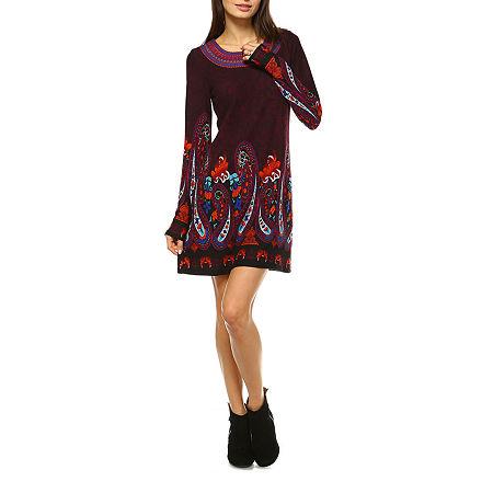White Mark Sandrine Embroidered Sweater Dress, X-large , Purple