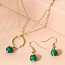 1 Stueck Halskette mit Perlen Anhaenger & 1 Paar Ohrringe