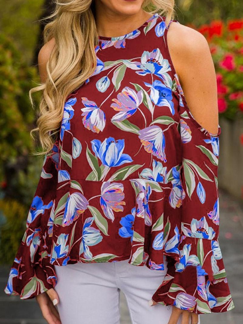 Ericdress Flare Sleeve Floral Print Off-Shoulder Loose Blouse