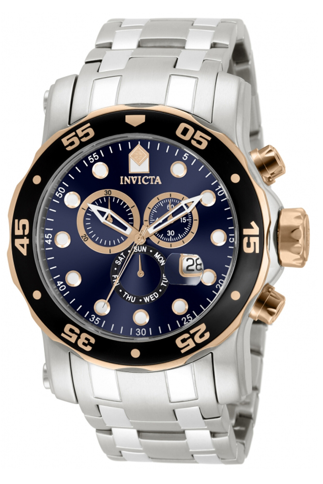 Invicta Men's Pro Diver 80038 Silver Stainless-Steel Plated Swiss Parts Chronograph Dress Watch