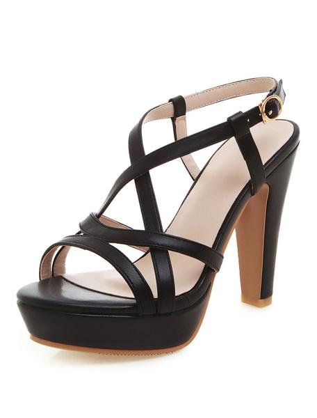 Milanoo Platform High Heel Sandals Womens Criss Cross Strappy Open Toe Slingback Chunky Heel Sandals