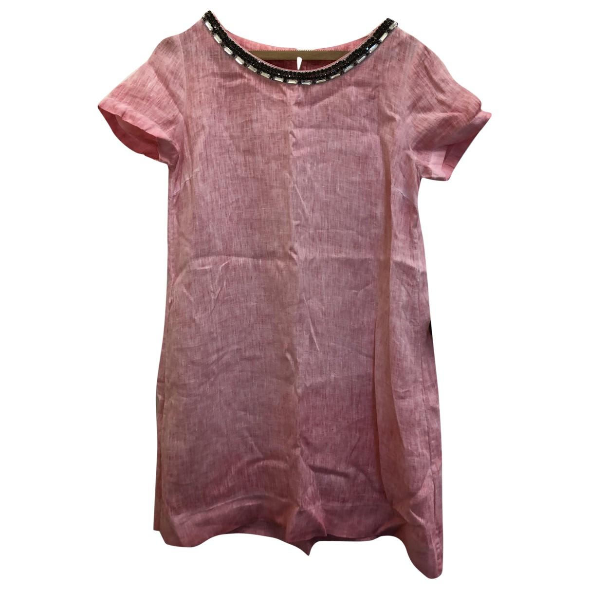 120% Lino \N Kleid in  Rosa Leinen