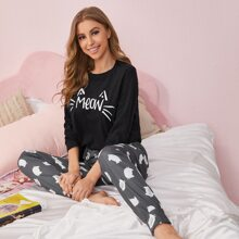 Letter & Cartoon Graphic Top & Pants PJ Set
