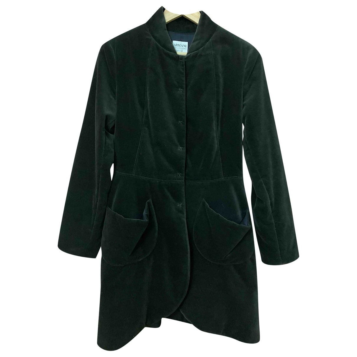 Armani Collezioni \N Green Velvet coat for Women 42 IT