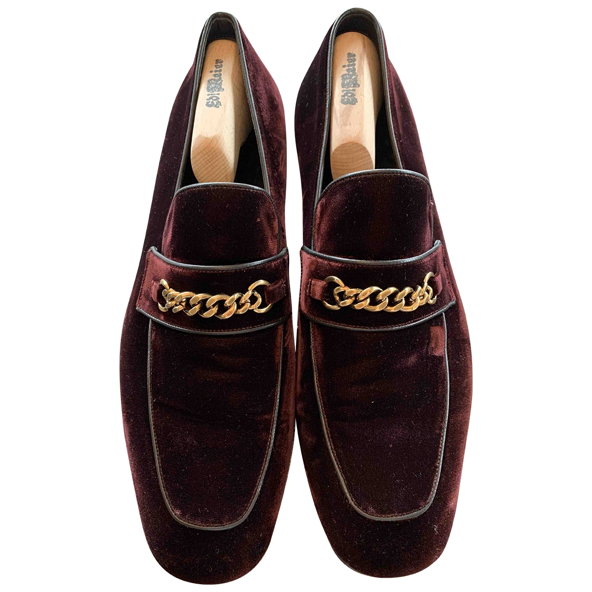 Tom Ford - Mocassins   pour homme en velours - bordeaux