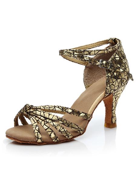 Milanoo Zapatillas Mujer Zapatillas Peep Toe Criss Cross Zapatos Baile Latino Zapatos Salon