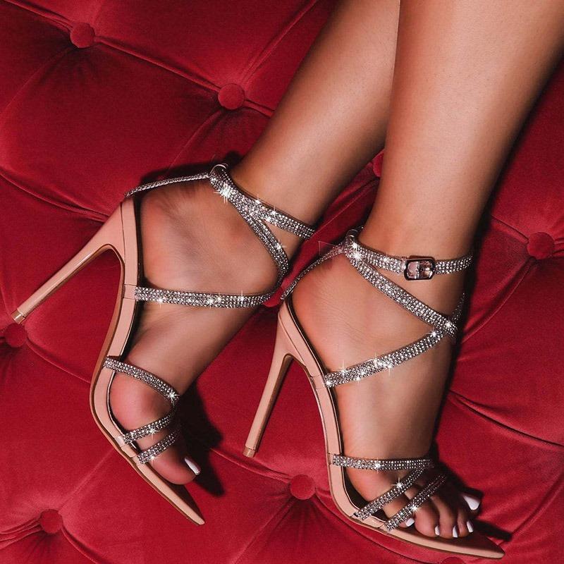 Ericdress Buckle Stiletto Heel Pointed Toe Low-Cut Upper Sandals