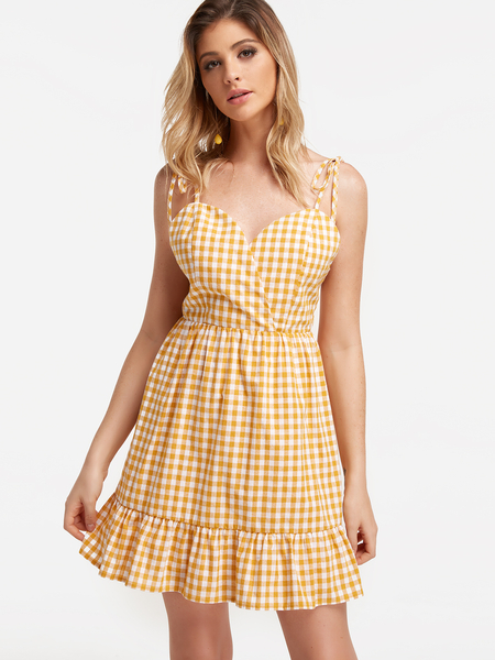 Yoins Yellow Backless Flared Sexy Dress