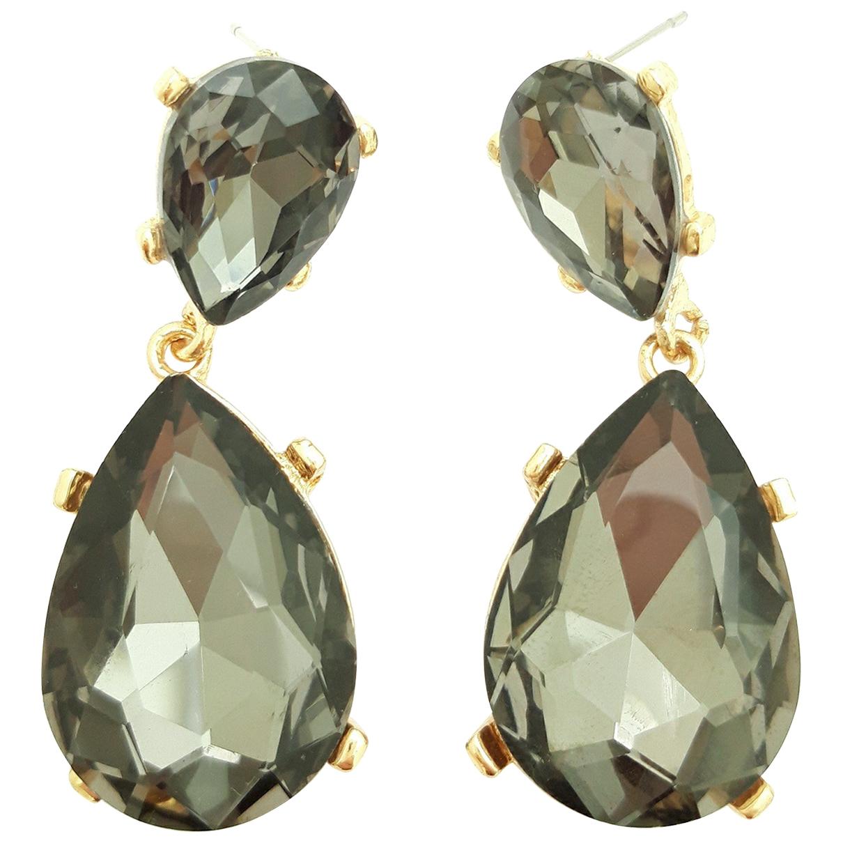 - Boucles doreilles Art Deco pour femme en cristal - gris