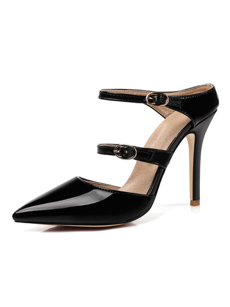 Milanoo Women Black Mules Pointed Toe Buckle Detail High Heel Shoes