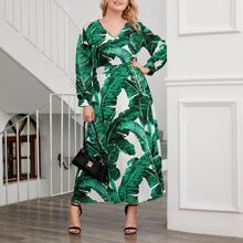 Plus Tropical Print V-neck Dress
