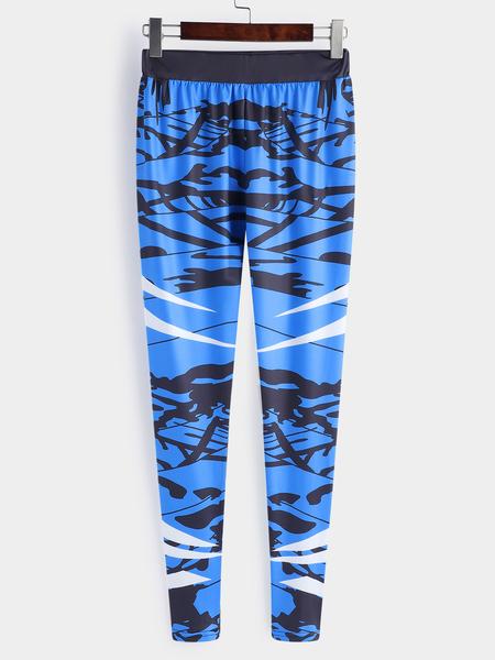 Yoins Active Printed Design High Waisted Elastic Gym Leggings in Blue