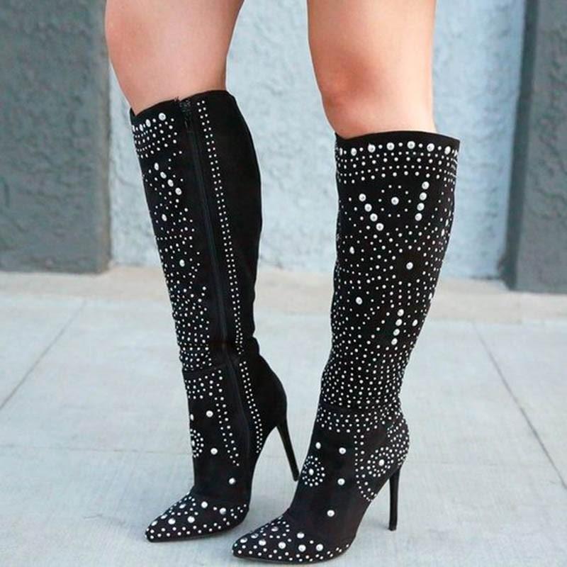 Ericdress Stiletto Heel Pointed Toe Side Zipper PU Women's Boots
