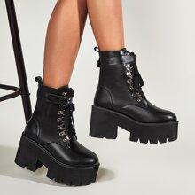 Lace-up Front Velcro Strap Combat Boots