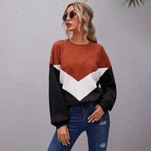 Drop Shoulder Chevron Colorblock Oversized Pullover