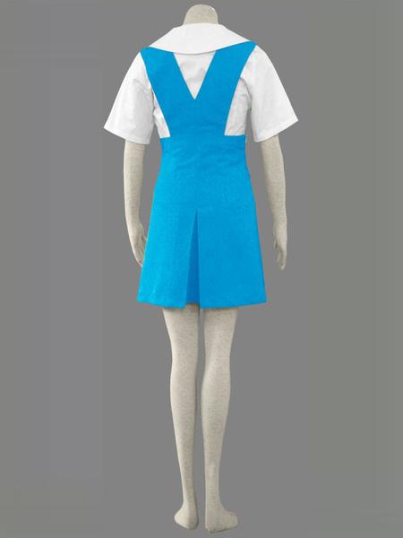 Milanoo Blue Neon Genesis Evangelion Cotton Dress Cosplay Costume Halloween