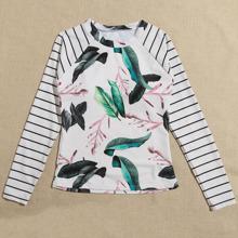 Tankini Top mit tropischem & Streifen Muster