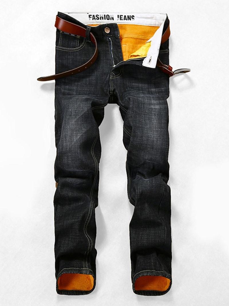 Ericdress Worn Plain Straight Zipper Casual Jeans