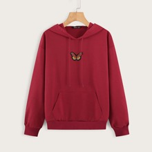 Butterfly Patched Kangaroo Pocket Drawstring Hoodie