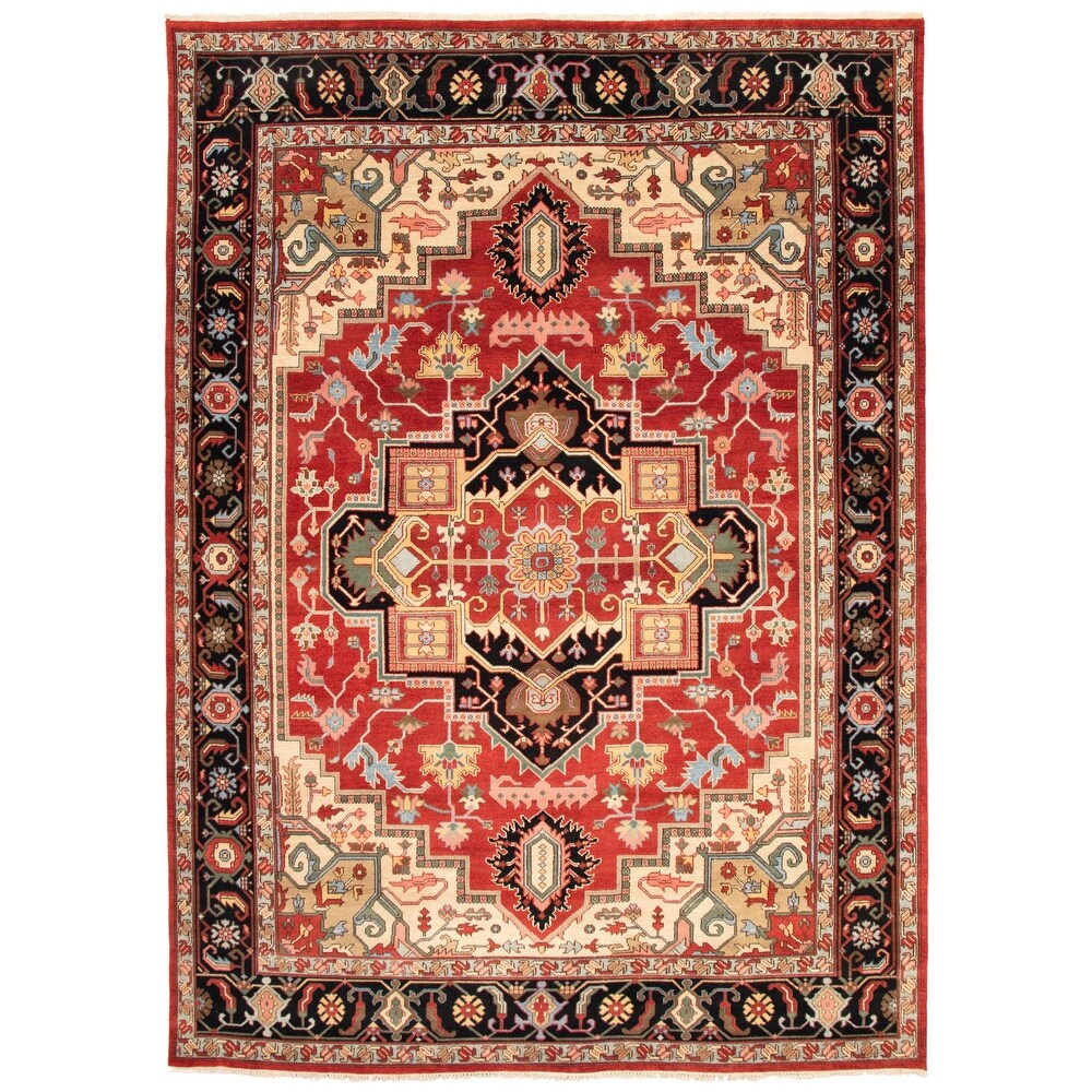 ECARPETGALLERY Hand-knotted Serapi Heritage Red Wool Rug - 10'0 x 14'0 (Red - 10'0 x 14'0)