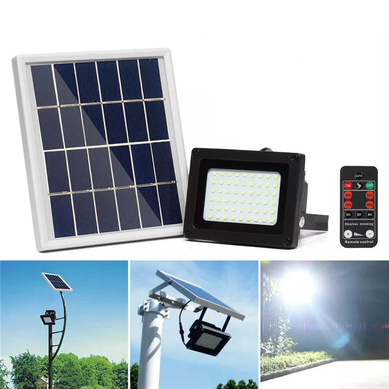 400LM 54 LED Solar Panel Flood Light Spotlight Project Lamp IP65 Waterproof Outdoor Camping Emergency Lantern With Remot