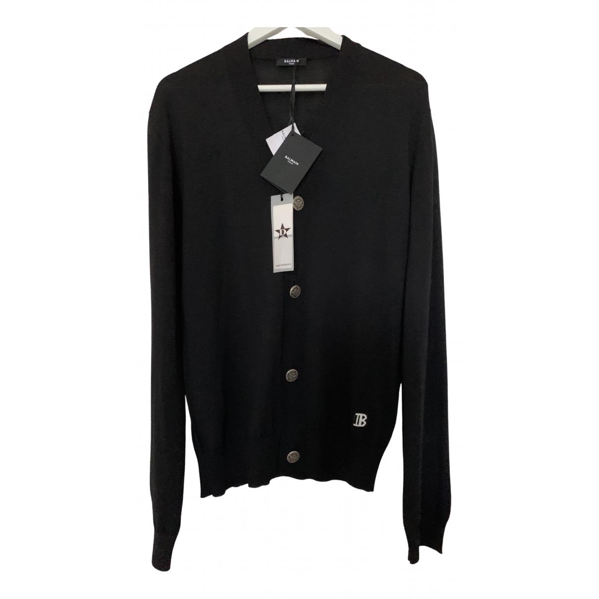 Balmain \N Pullover.Westen.Sweatshirts  in  Schwarz Wolle