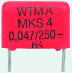 WIMA 470nF Polyester Capacitor PET 40 V ac, 63 V dc ±10%, Through Hole (5)