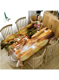 3D Gorgeous Dinner Party Printed Thick Polyester Table Cover Cloth