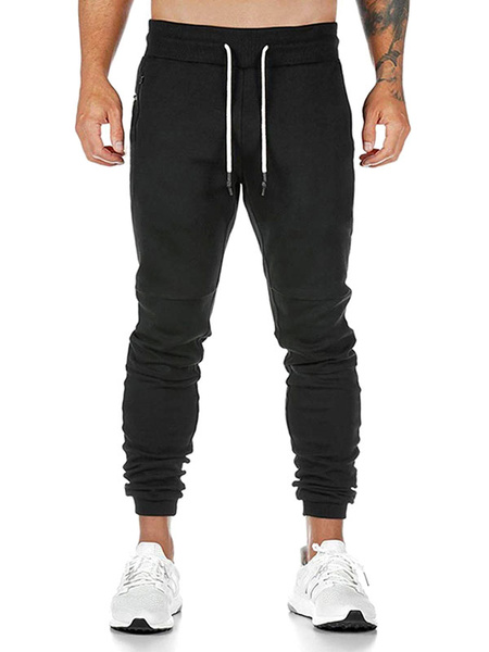 Milanoo Men Running Joggers Pants Training Tapered Workout Sweatpants With Towel Loop