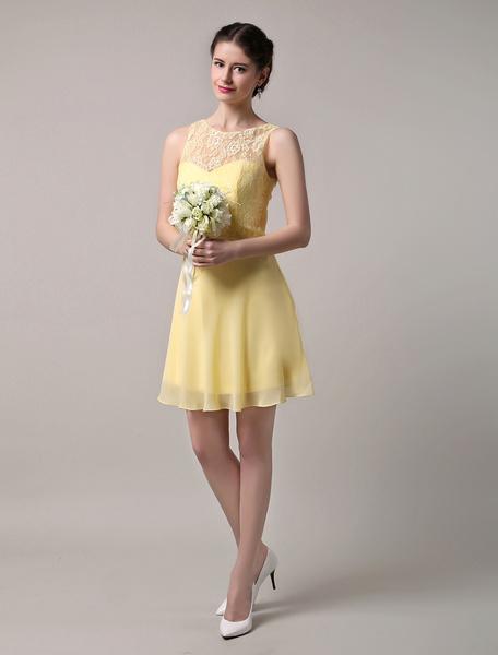 Milanoo Chiffon  Lace Bateau Neckline Short Bridesmaid Dress