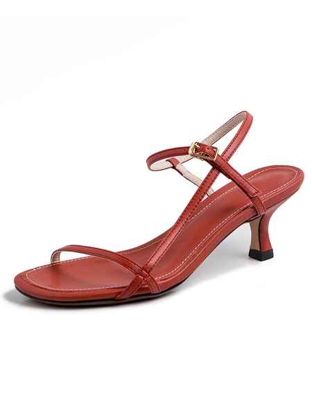 Milanoo Sandalias de mujer Open Toe Oragnge Red Kitten Heel Zapatos de mujer